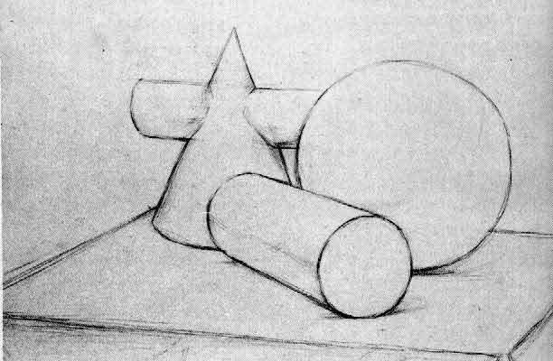 几何形体组合素描写生步骤图片